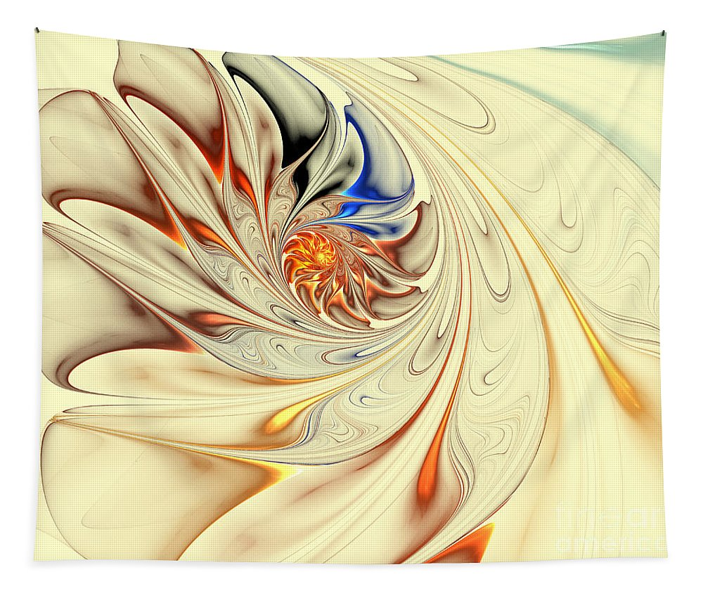 Digital Tapestry featuring the digital art Flower Abstract Light by Deborah Benoit