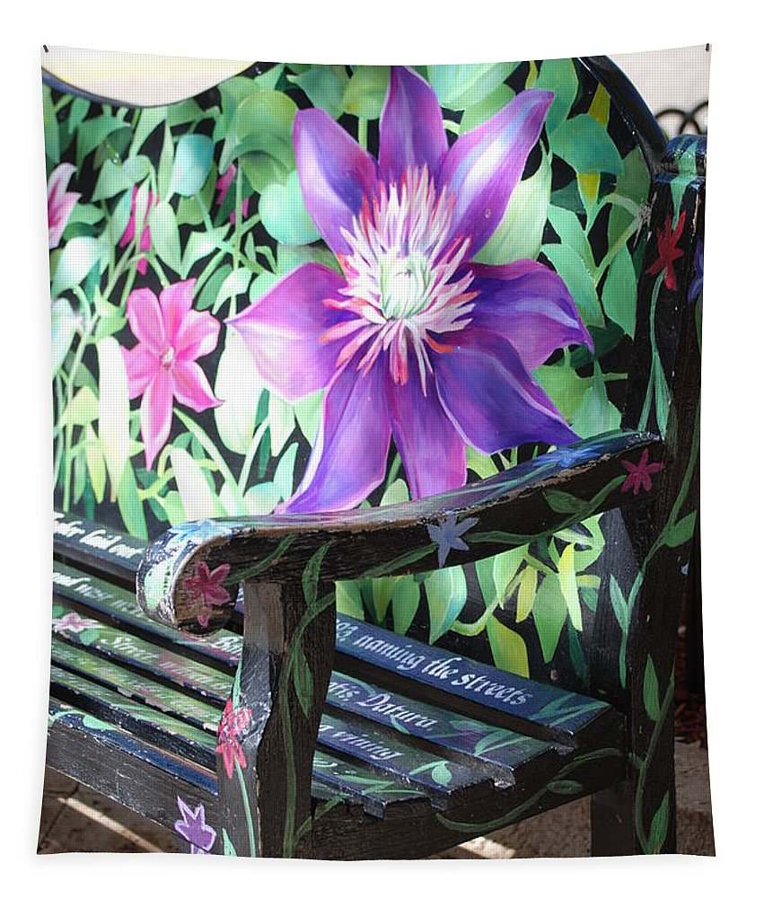 Macro Tapestry featuring the photograph Flower Bench by Rob Hans