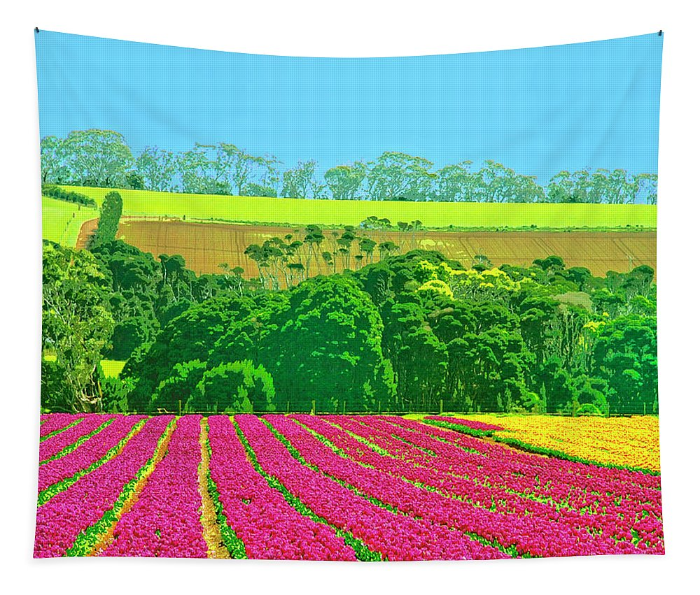 Flower Farm Tapestry featuring the mixed media Flower Farm And Hills by Dominic Piperata