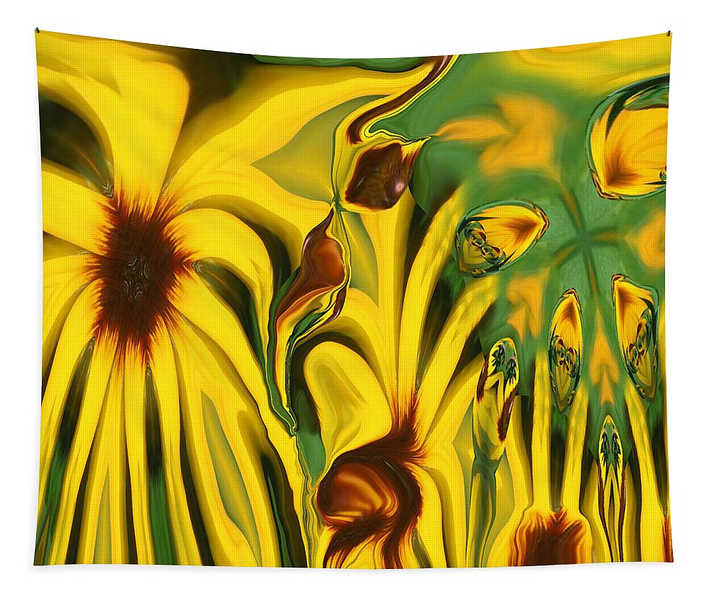 Abstract Tapestry featuring the photograph Flower Fun by Linda Sannuti