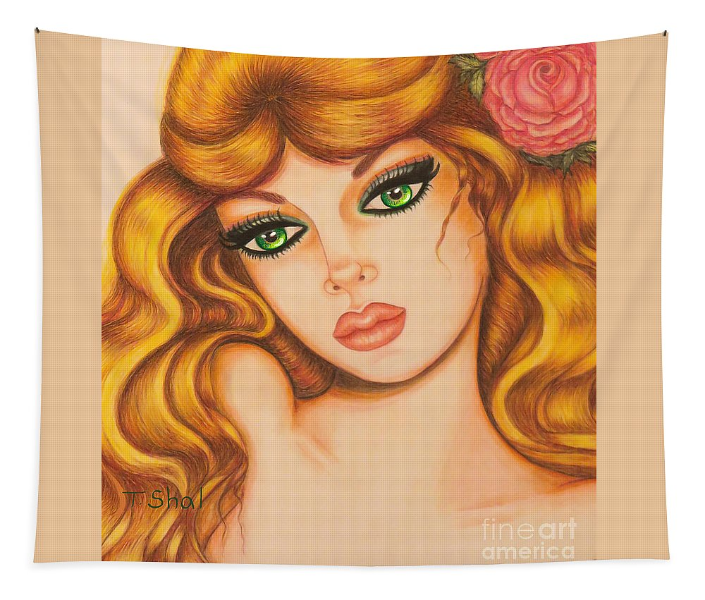 Art Print Tapestry featuring the drawing Flower Girl 2 by Tara Shalton