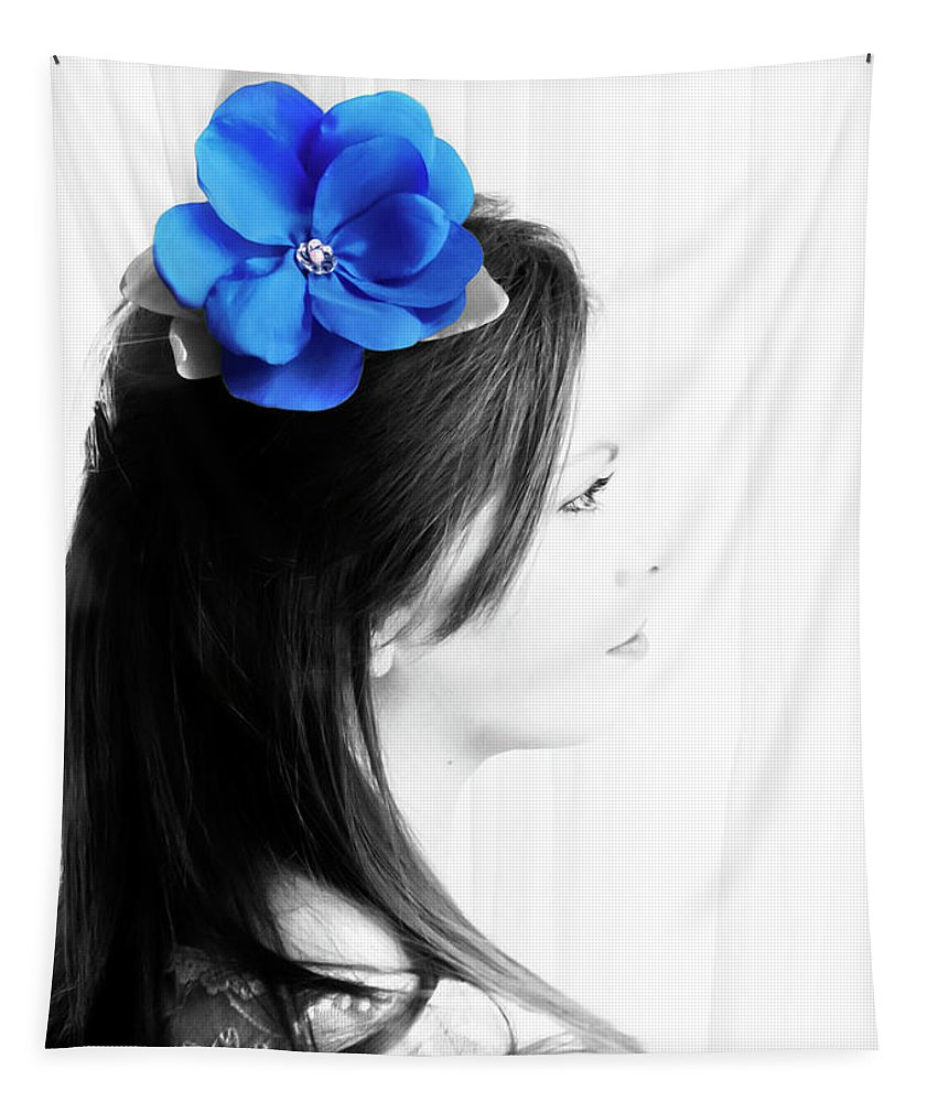 High Key Tapestry featuring the photograph Flower Girl Blue Selective Colour by Terri Waters