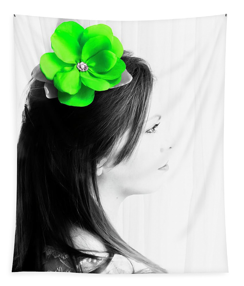 High Key Tapestry featuring the photograph Flower Girl Green Selective Colour by Terri Waters