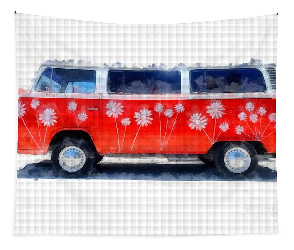 Van Tapestry featuring the photograph Flower Power Van by Edward Fielding