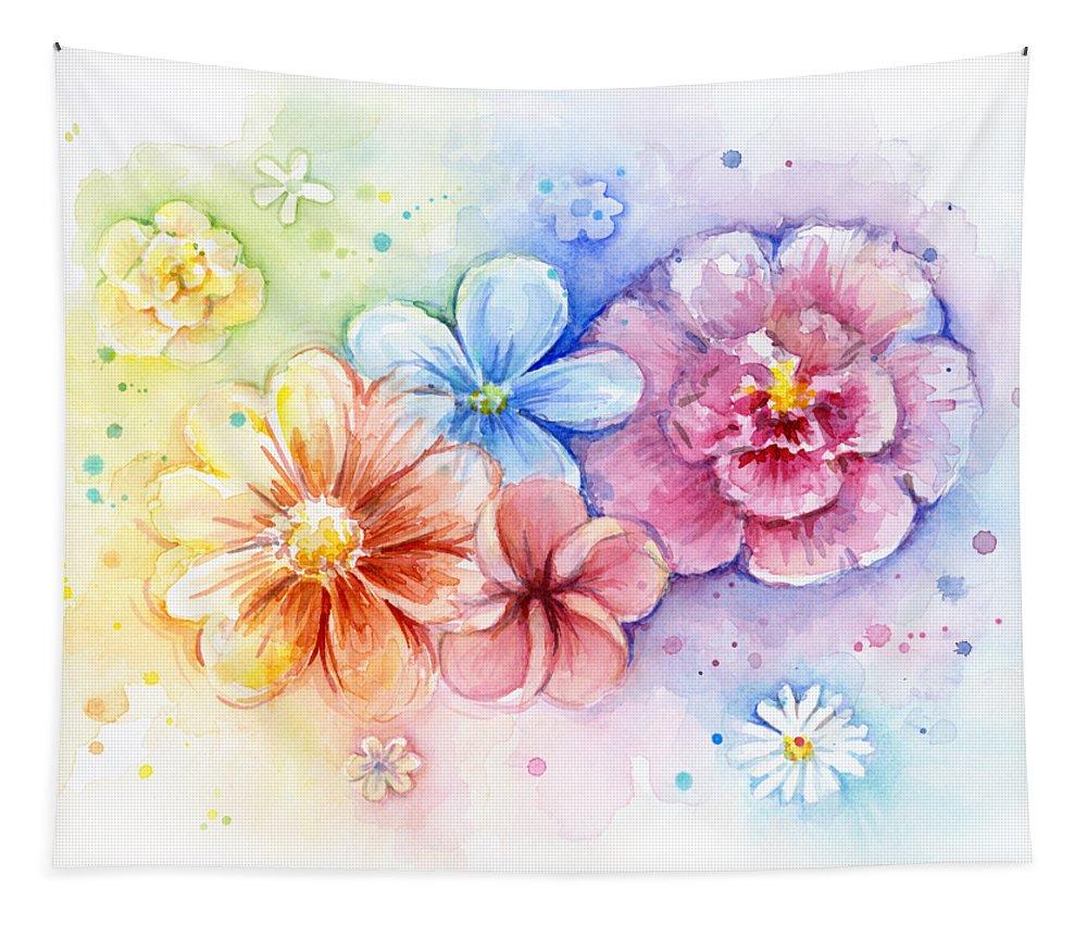 01-Watercolor Florals Weekender Bag