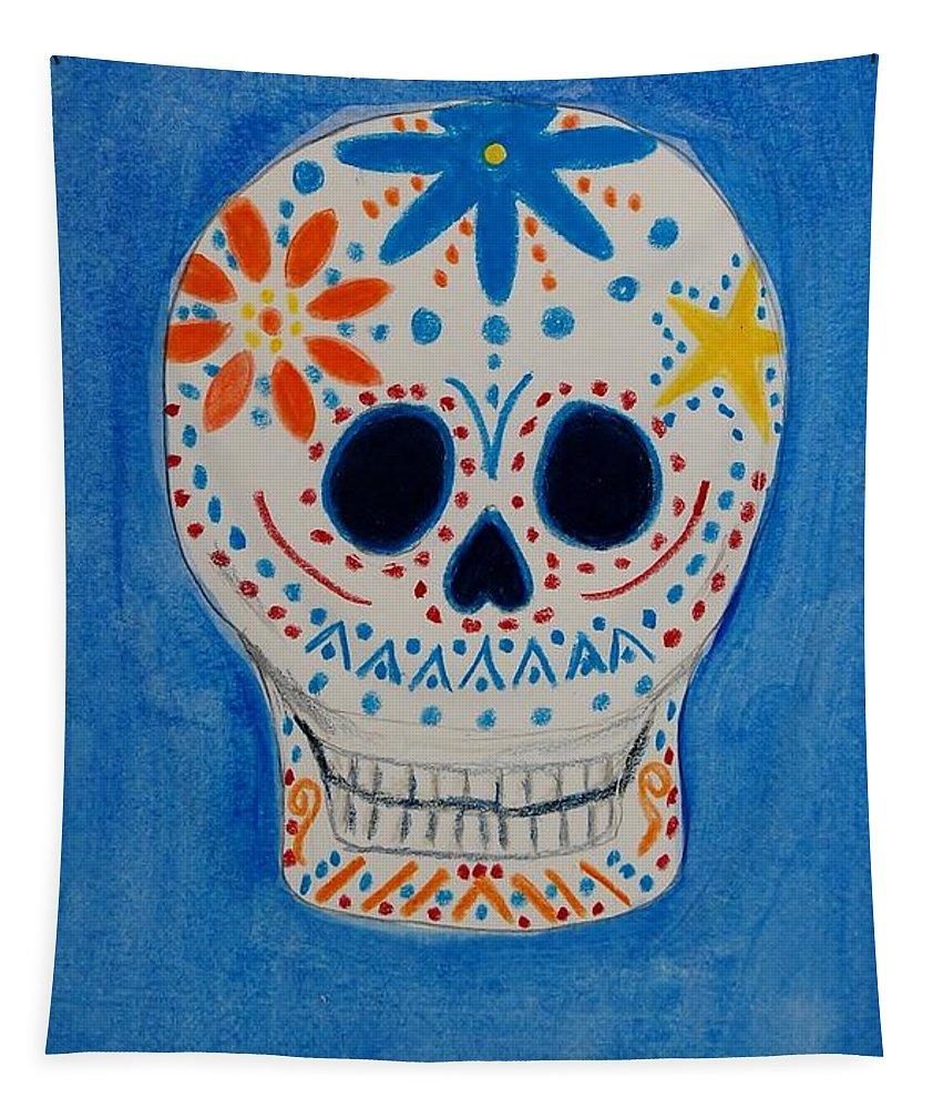Skull Tapestry featuring the mixed media Flower Skull by Charla Van Vlack