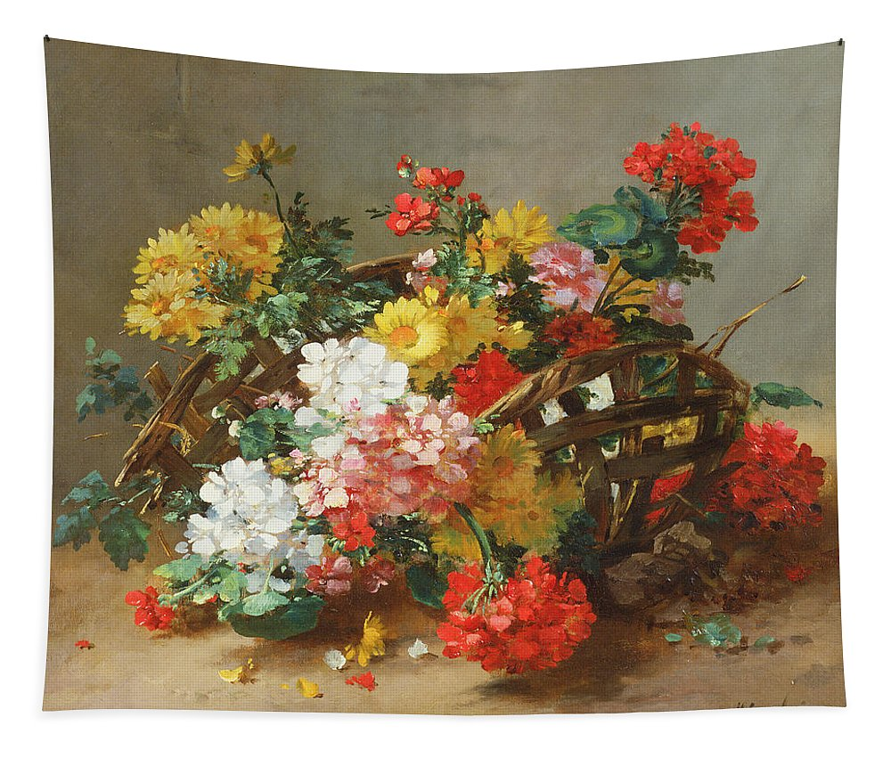 Still Life With Flowers Tapestry featuring the painting Flower Study by Eugene Henri Cauchois