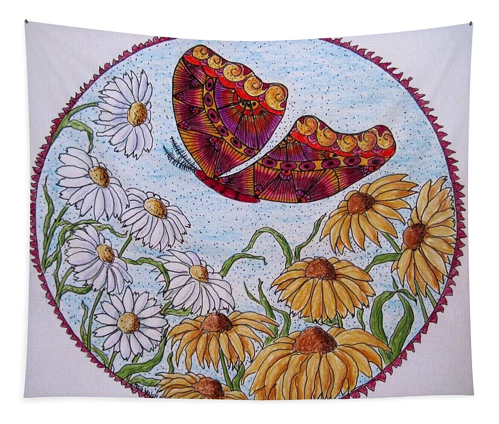 Daisies Tapestry featuring the drawing Flowers And A Butterfly by Megan Walsh