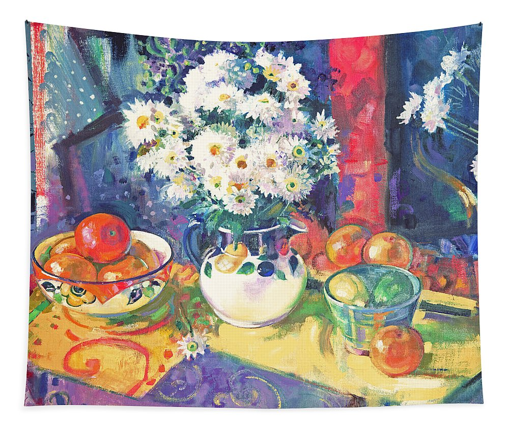 Daisies Tapestry featuring the painting Flowers And Fruit In A Green Bowl by Peter Graham