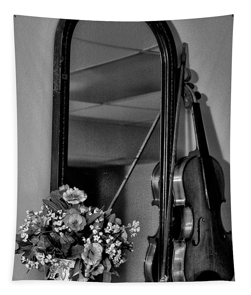 Flowers Tapestry featuring the photograph Flowers And Violin In Black And White by Bill Cannon