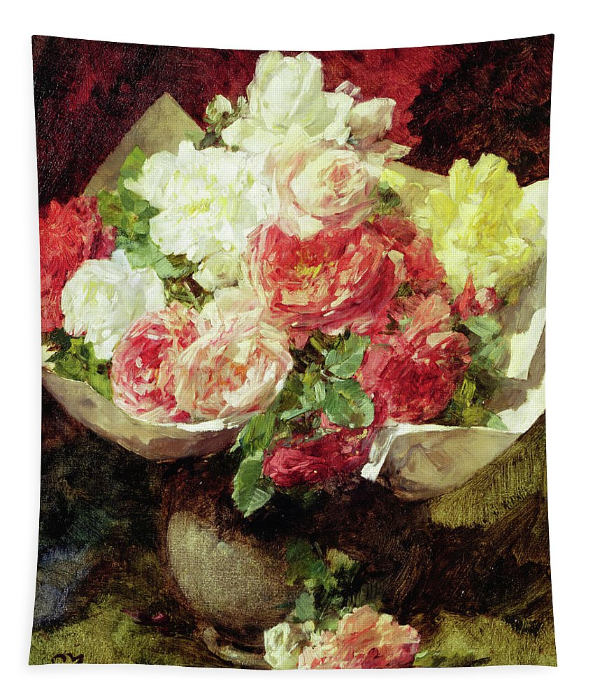 Rose Tapestry featuring the painting Flowers In A Vase by Georges Jeannin