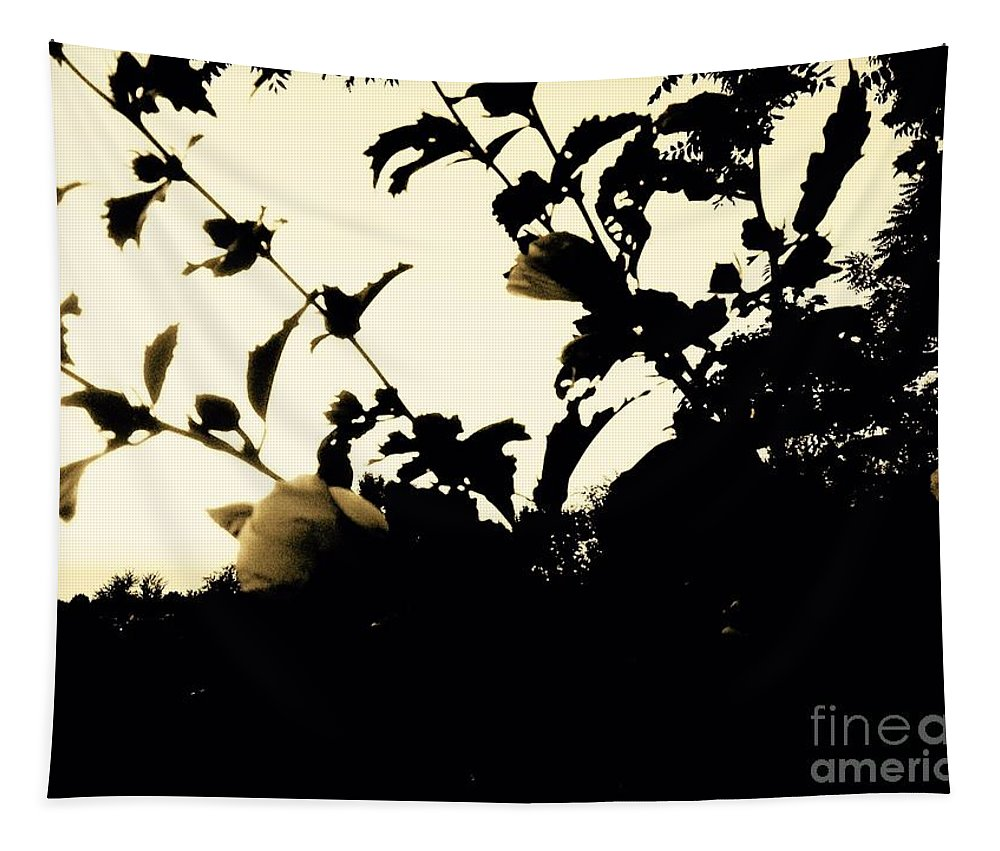Floral Tapestry featuring the photograph Flowers In Black And White by Debra Lynch