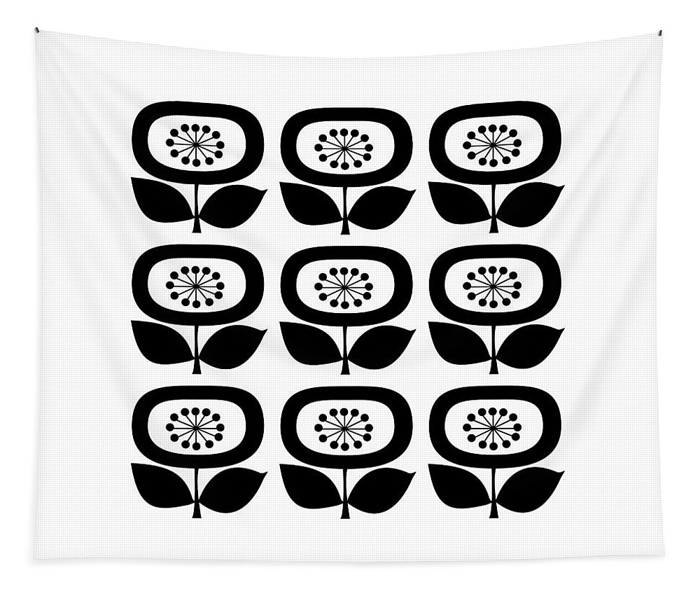 Mid Century Modern Tapestry featuring the digital art Flower 2 Group by Donna Mibus