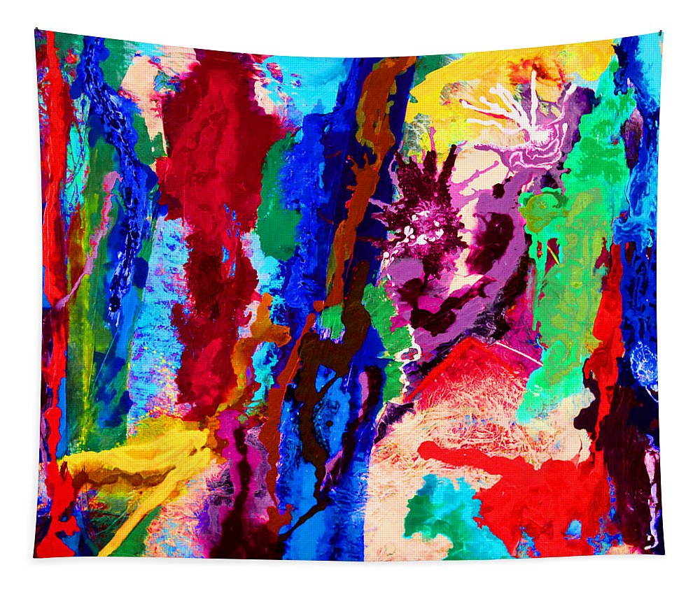 Abstract Tapestry featuring the painting Flowing Contrasts by Carole Sluski