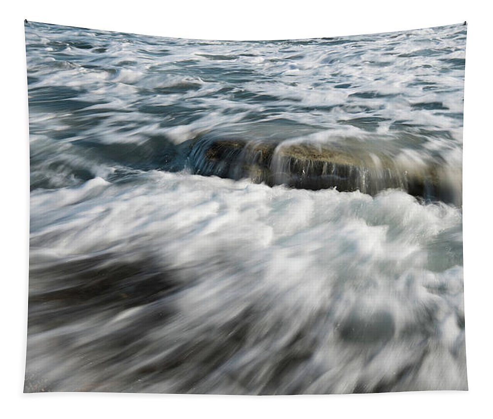 Shore Tapestry featuring the photograph Flowing Sea Waves by Michalakis Ppalis