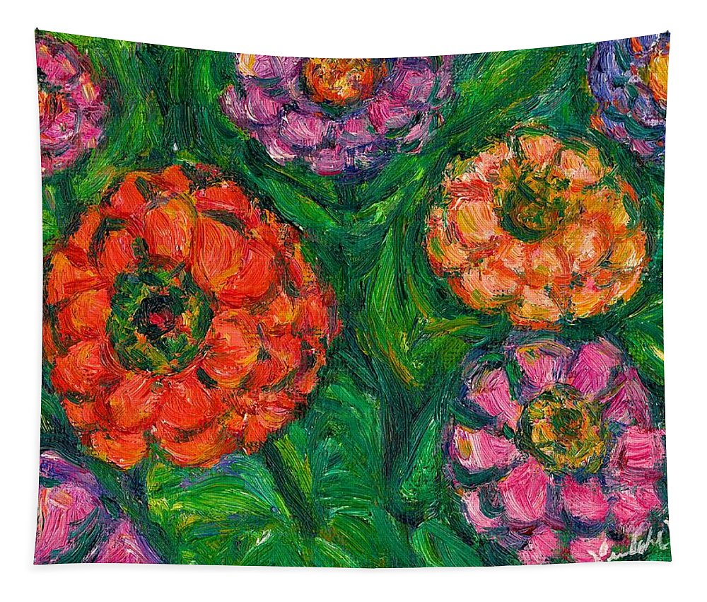 Flowers Tapestry featuring the painting Flowing Zinnias by Kendall Kessler