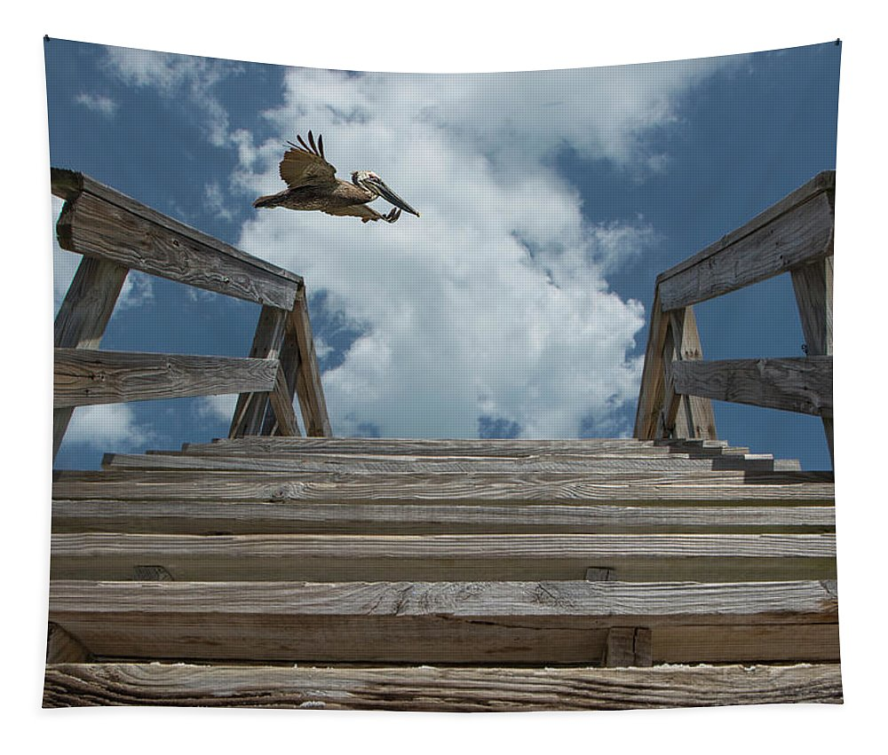 Beach Tapestry featuring the photograph Fly By At The Beach - Brown Pelican And Rustic Stairs by Mitch Spence