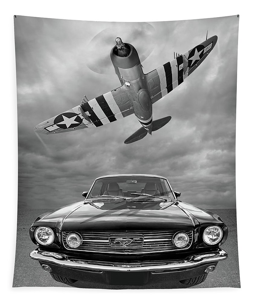 Aviation Tapestry featuring the photograph Fly Past - 1966 Mustang With P47 Thunderbolt In Black And White by Gill Billington