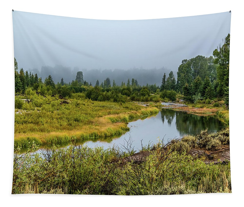 Schwabacher's Landing Tapestry featuring the photograph Fog At Schwabacher's Landing by Yeates Photography