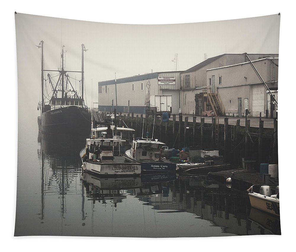 Boats Tapestry featuring the photograph Fog Before Sunrise #3 by Bob Orsillo