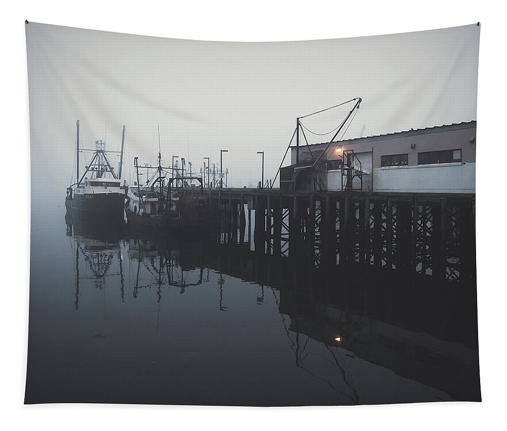 Boats Tapestry featuring the photograph Fog Before Sunrise by Bob Orsillo