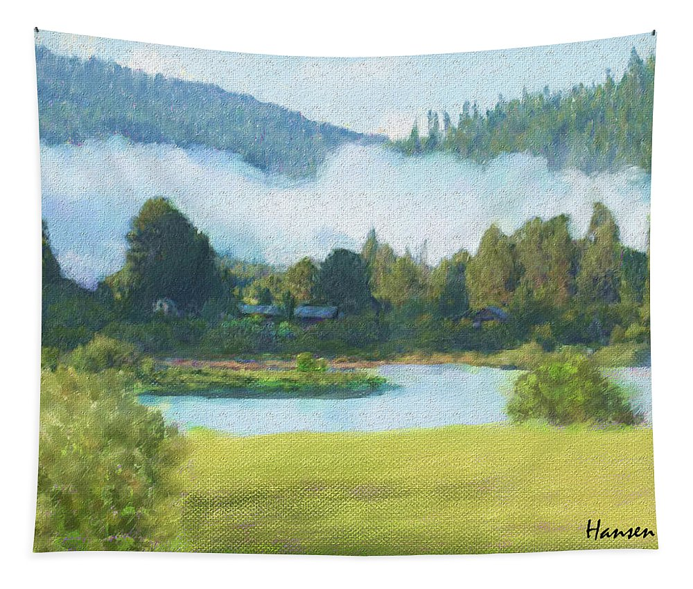 Landscape Tapestry featuring the painting Fog On The Road To Mccall by Mia Hansen