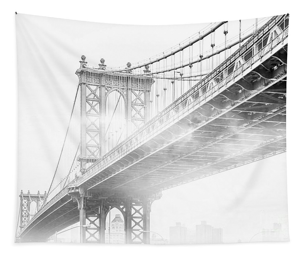Manhattan Bridge Tapestry featuring the photograph Fog Under The Manhattan BW by Az Jackson