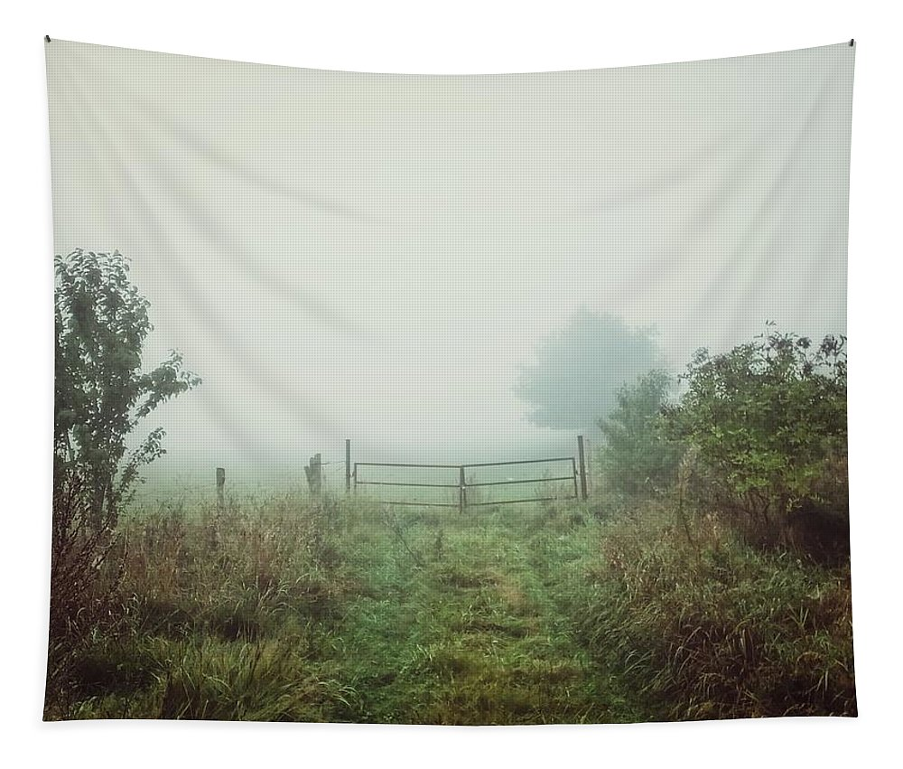 Nature Tapestry featuring the photograph Foggy Field by Karen Stahlros