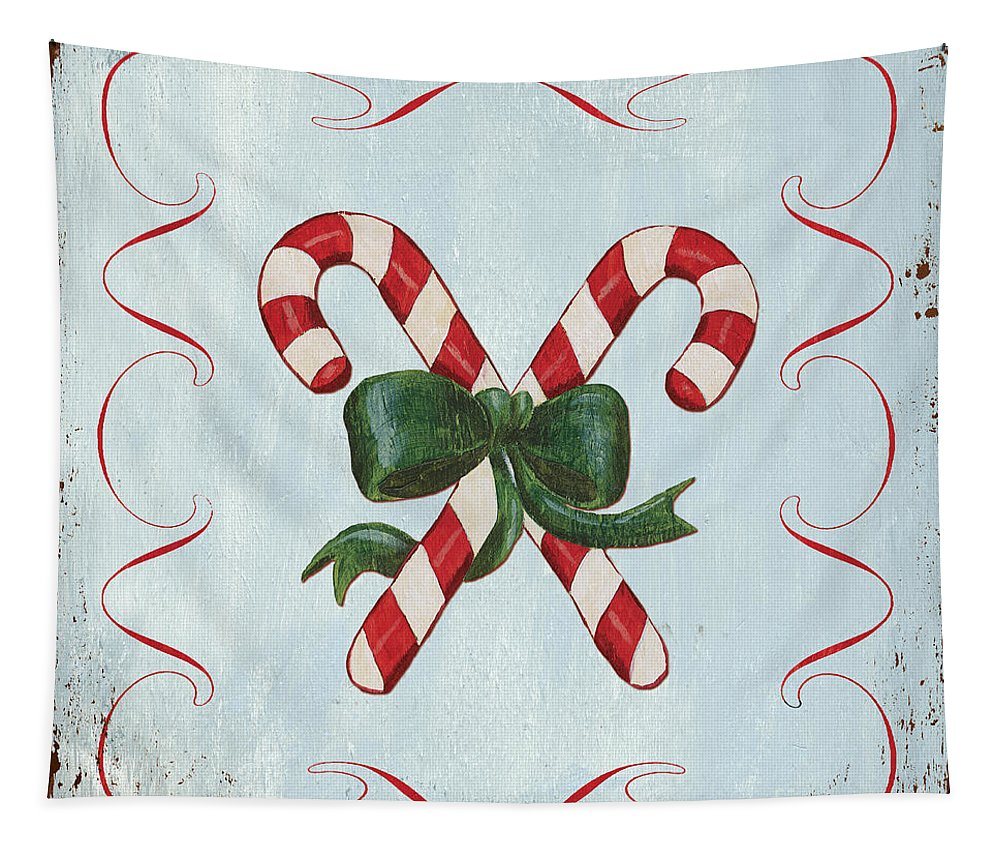 Candy Cane Tapestry featuring the painting Folk Candy Cane by Debbie DeWitt