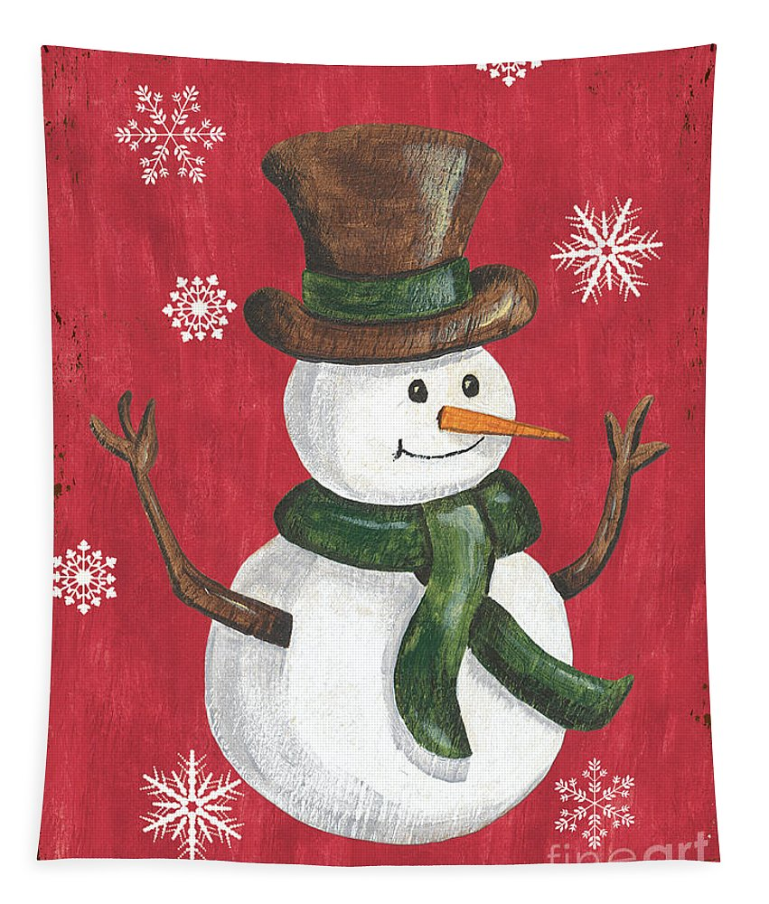 Snowman Tapestry featuring the painting Folk Snowman by Debbie DeWitt