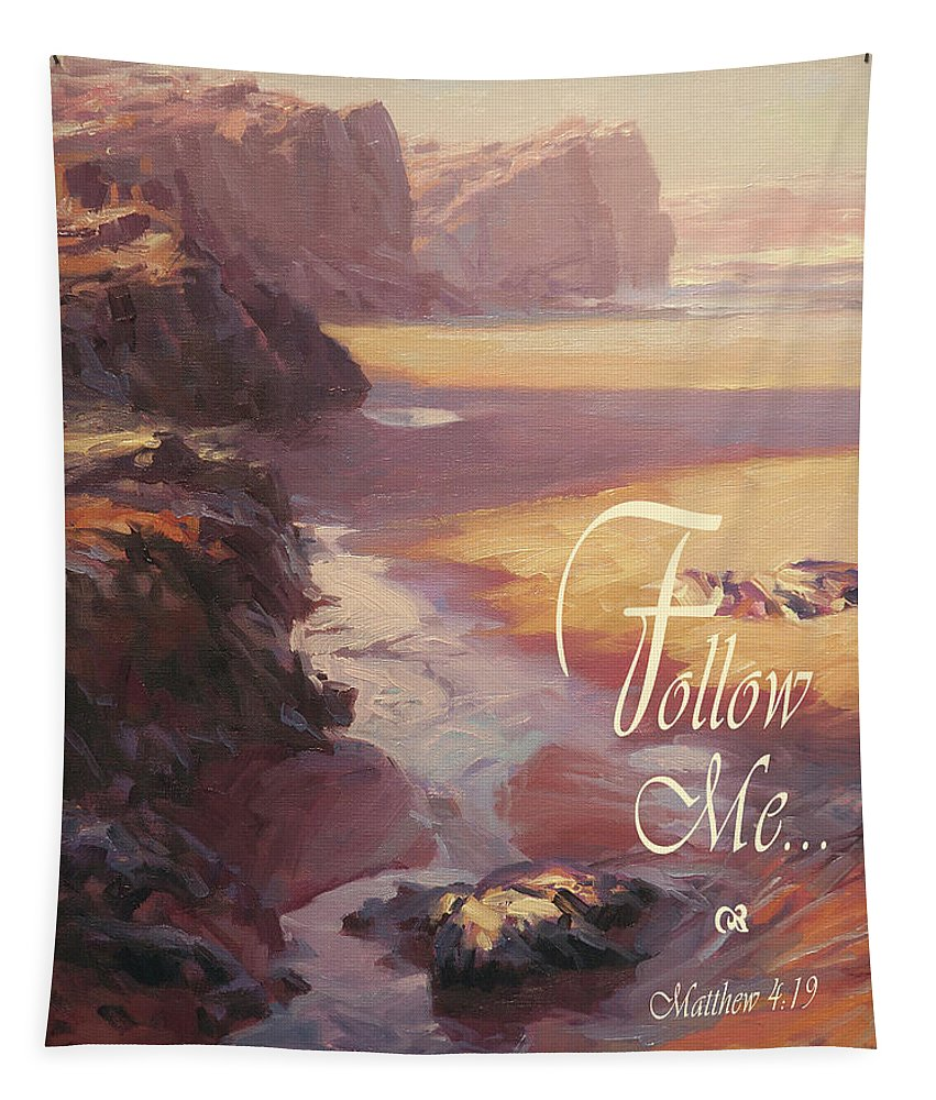 Christian Tapestry featuring the digital art Follow Me by Steve Henderson