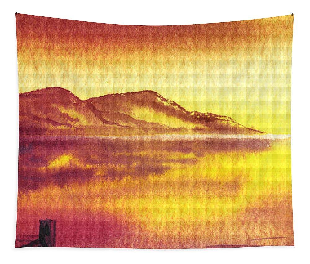 Following The Sun Tapestry featuring the painting Following The Setting Sun by Irina Sztukowski