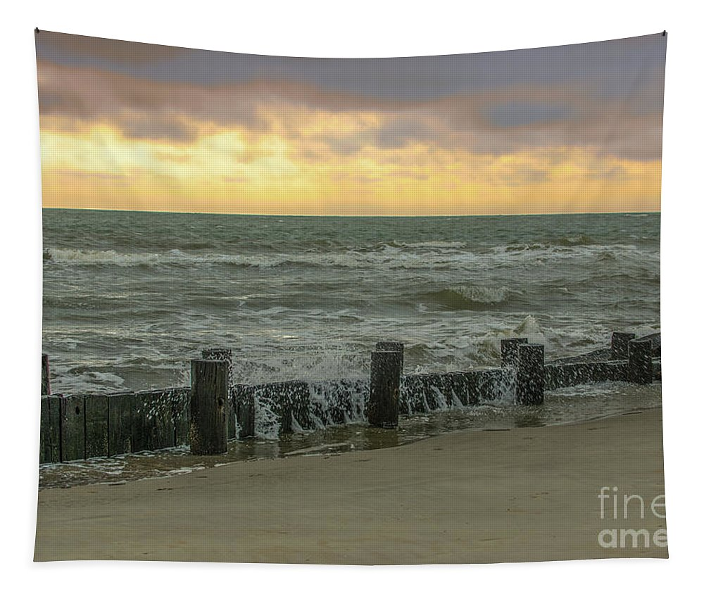 Folly Beach Tapestry featuring the photograph Folly Storm Surge by Dale Powell