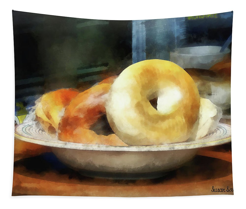 Bagels Tapestry featuring the photograph Food - Bagels For Sale by Susan Savad