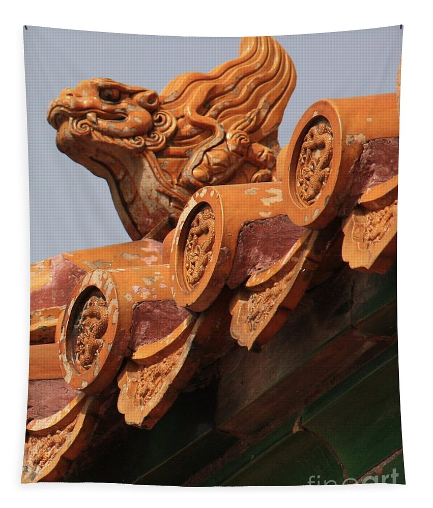 Forbidden City Tapestry featuring the photograph Forbidden City Guardian by Carol Groenen