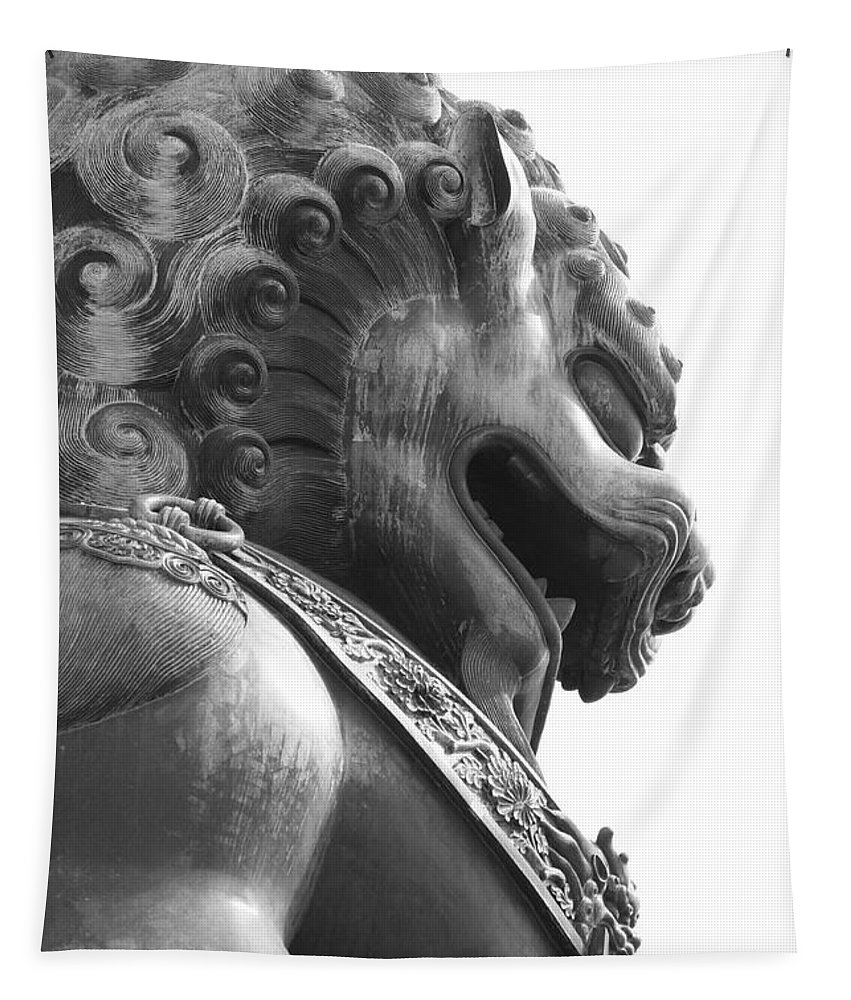 China Tapestry featuring the photograph Forbidden City Lion - Black And White by Carol Groenen