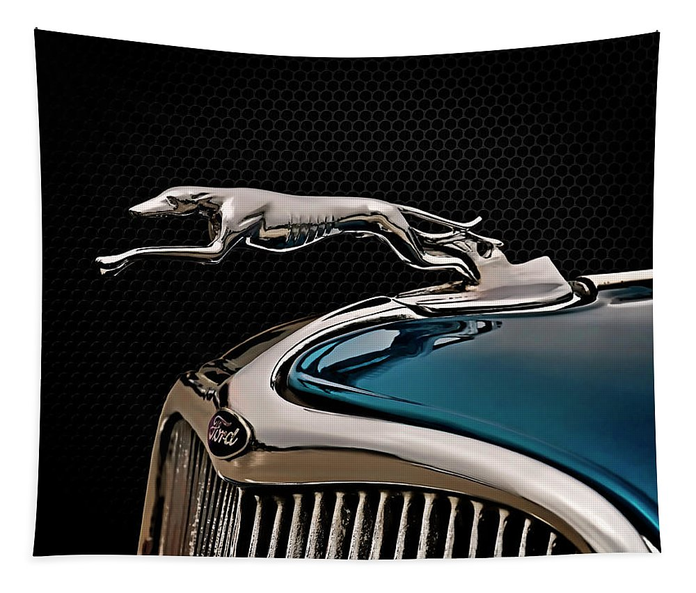 Vintage Tapestry featuring the digital art Ford Blue Dog by Douglas Pittman
