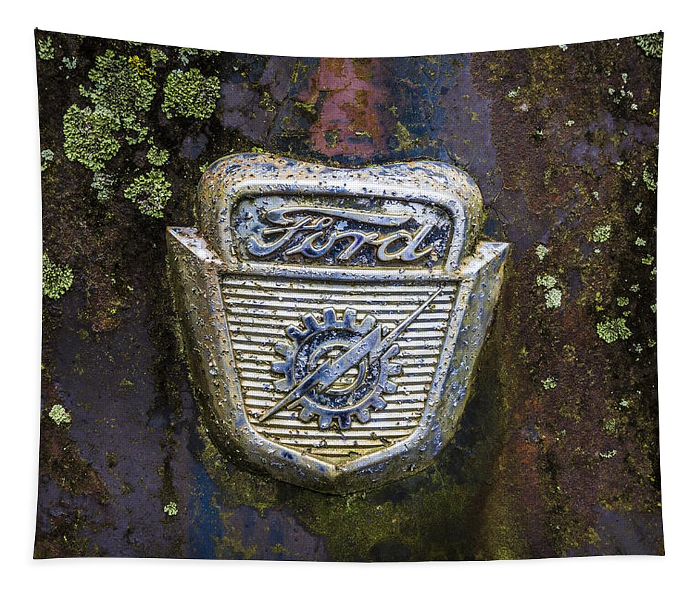 Appalachia Tapestry featuring the photograph Ford Emblem by Debra and Dave Vanderlaan