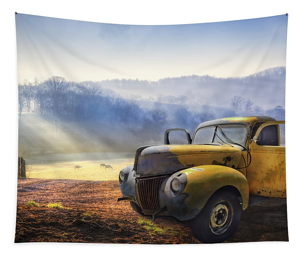Appalachia Tapestry featuring the photograph Ford In The Fog by Debra and Dave Vanderlaan