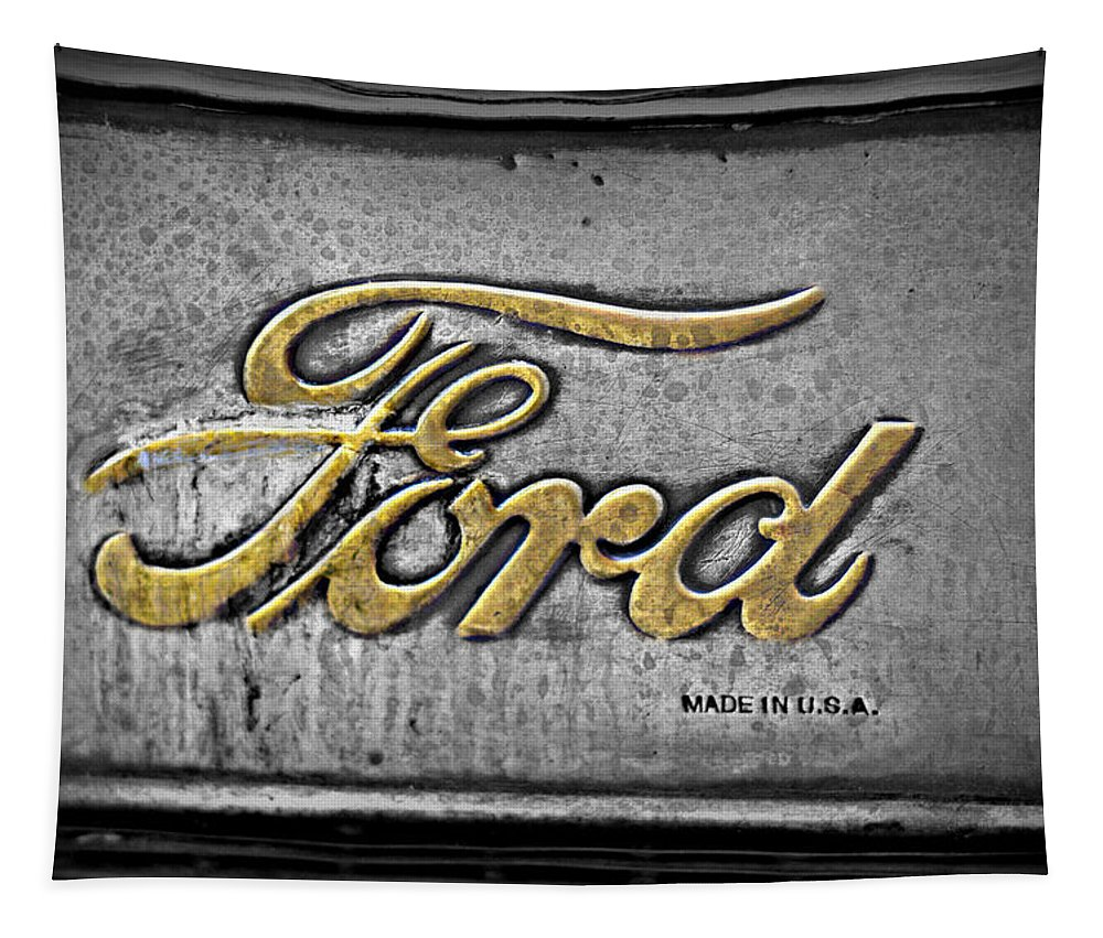 Ford Tapestry featuring the photograph Ford Made In The Usa by Christine Lantz