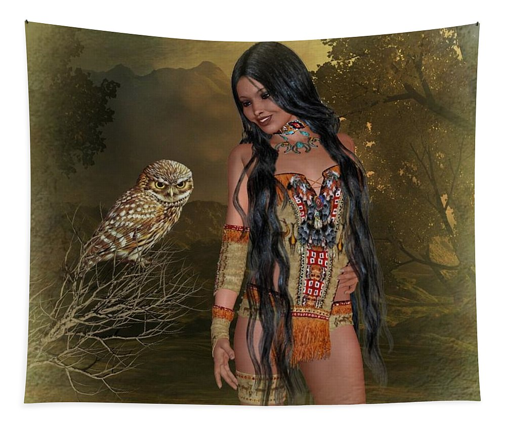 Ali Oppy Tapestry featuring the digital art Forest Friend by Ali Oppy