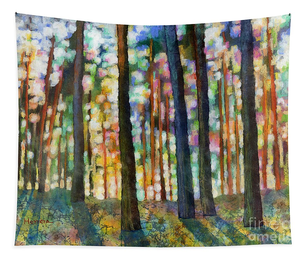 Dreaming Tapestry featuring the painting Forest Light by Hailey E Herrera
