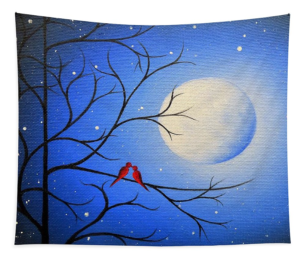 Red Birds Tapestry featuring the painting Forever After by Rachel Bingaman