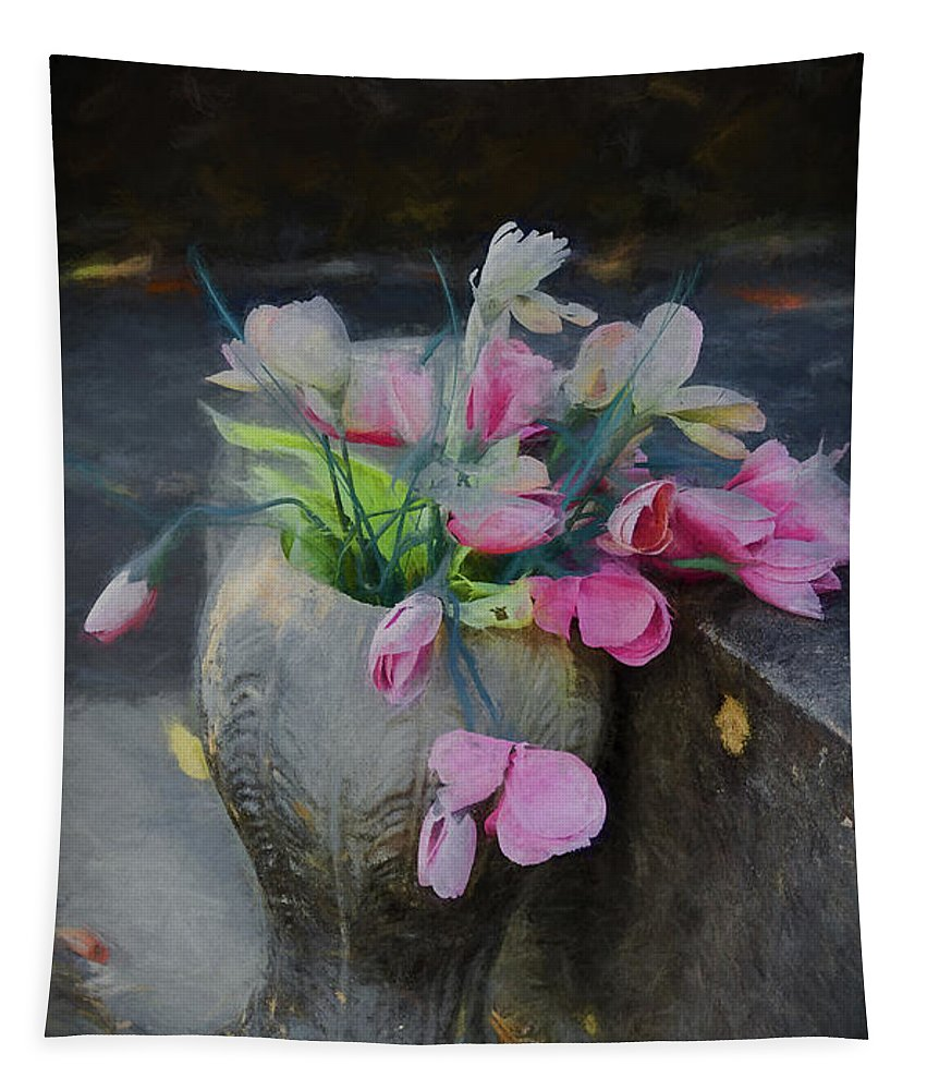 Urn Tapestry featuring the photograph Forgotten Again - Painted by Kathleen K Parker