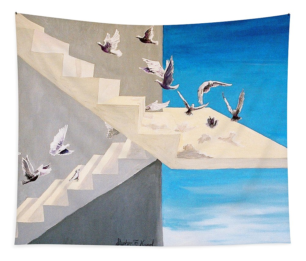 Birds Tapestry featuring the painting Form Without Function by Steve Karol