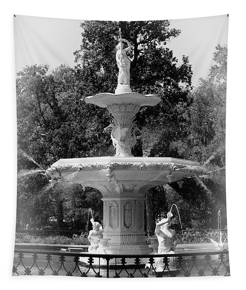 Savannah Tapestry featuring the photograph Forsyth Park Fountain Black And White With Vignette by Carol Groenen