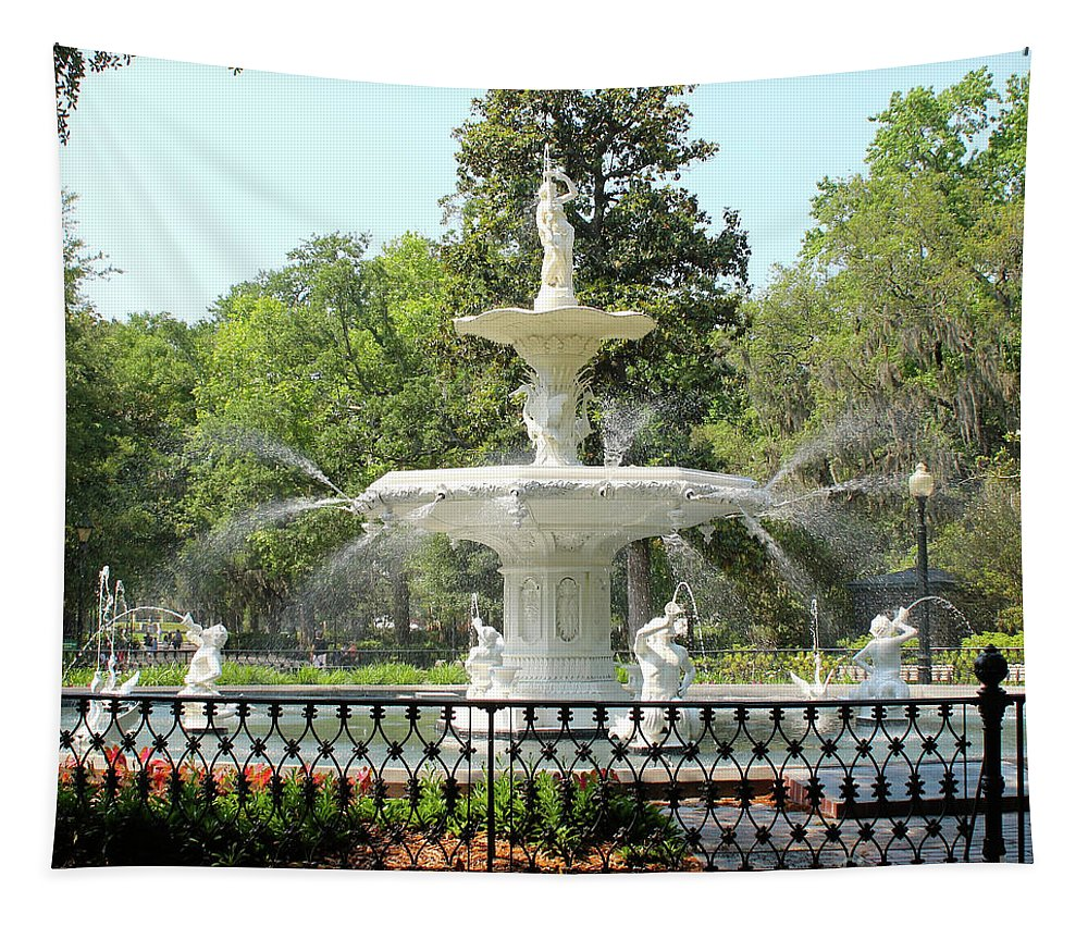 Forsyth Park Fountain Tapestry featuring the photograph Forsyth Park Fountain Square by Carol Groenen