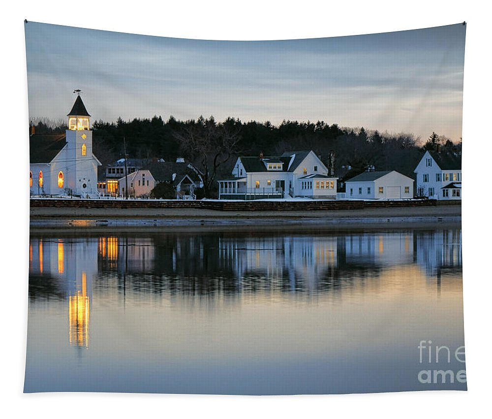 Fort Tapestry featuring the photograph Fort Baldwin Winter Evening by Olivier Le Queinec