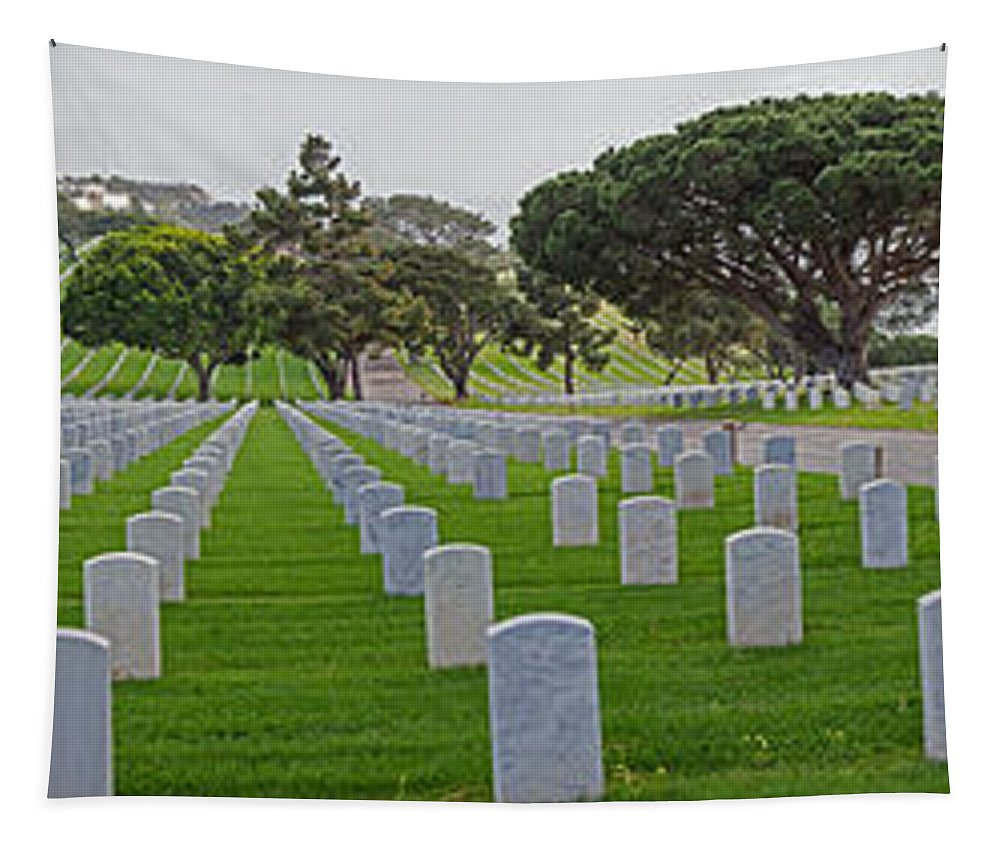 Fort Rosencrans National Cemetery Tapestry featuring the photograph Fort Rosencrans National Cemetery by Susan McMenamin