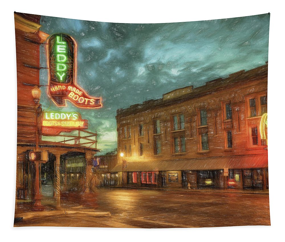 Joan Carroll Tapestry featuring the photograph Fort Worth Impressions Main And Exchange by Joan Carroll